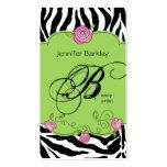 Beauty Business Card Zebra Rose Salon Pink Green