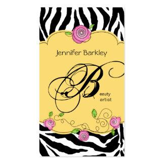 Beauty Business Card Zebra Rose Salon Pink Yellow