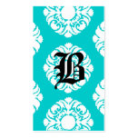 Beauty Business Cards Damask Monogram Blue White