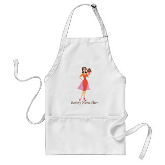 Beauty Cake WIth Rose Orange Dress Adult Apron