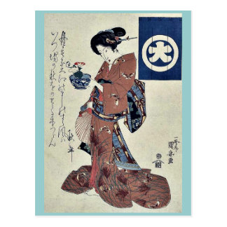 Beauty carrying morning glory by Utagawa,Kuniyasu Postcard
