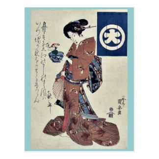 Beauty carrying morning glory by Utagawa,Kuniyasu Post Card