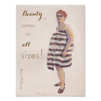 """Beauty comes in all sizes"" chalk art woman Poster"