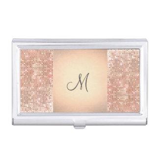 Beauty Consultant Chic Monogram Copper Sequins Business Card Case