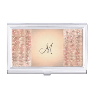 Beauty Consultant Chic Monogram Copper Sequins Business Card Case