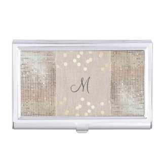 Beauty Consultant Chic Monogram Sequins and Linen Business Card Holder