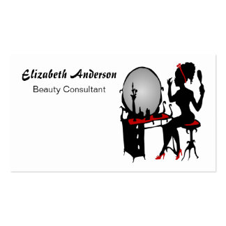 Beauty Consultant Classy Red Black Hair Salon Double-Sided Standard Business Cards (Pack Of 100)