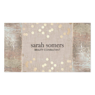 Beauty Consultant Gold Confetti Sequins and Linen Double-Sided Standard Business Cards (Pack Of 100)