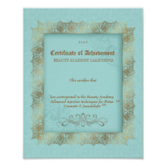 Beauty Diploma Certificate Of Achievement Blue Poster at Zazzle