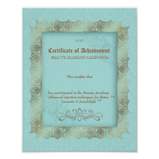 Beauty Diploma Certificate of Achievement Blue Print