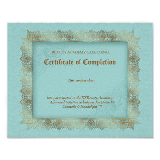 Beauty Diploma Certificate of Completion Blue Gold Print