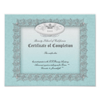 Beauty Diploma Certificate of Completion Blue Poster