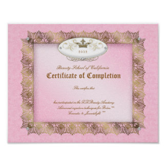 Beauty Diploma Certificate of Completion Pink Gold Posters