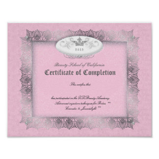 Beauty Diploma Certificate of Completion Pink Posters