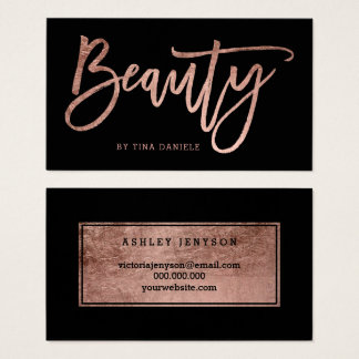 Beauty elegant faux rose gold typography black business card