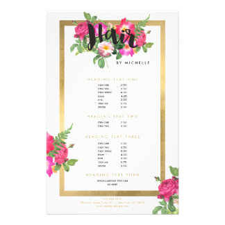 Beauty Florals Hair Stylist White Flyer