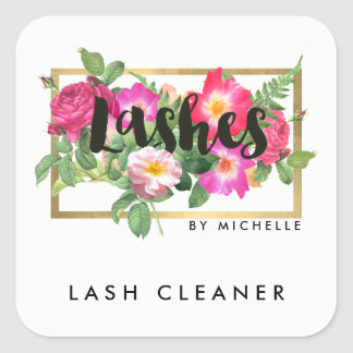 Beauty Florals Lash Extensions White Lash Cleaner Square Sticker