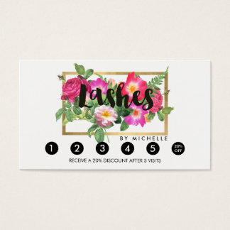 Beauty Florals Lash Extensions White Loyalty Card