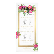 Beauty Florals Lash Extensions White Rack Card