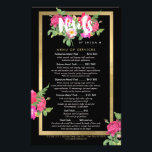 """Beauty Florals Nail Salon Price List Service Menu<br><div class=""""desc"""">Coordinates with the Beauty Florals Nail Salon Black Business Card Template by 1201AM. A beautiful and chic design motif featuring a colorful bouquet of flowers peaks out from behind the word &quot;Nails&quot;. Personalized with your name underneath and framed in a faux metallic gold foil box, this is the perfect nail...</div>"""