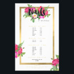 """Beauty Florals Nail Salon White Flyer<br><div class=""""desc"""">Coordinates with the Beauty Florals Nail Salon White Business Card Template by 1201AM. A beautiful and chic design motif featuring a colorful bouquet of flowers peaks out from behind the word &quot;Nails&quot;. Personalized with your name underneath and framed in a faux metallic gold foil box, this is the perfect nail...</div>"""