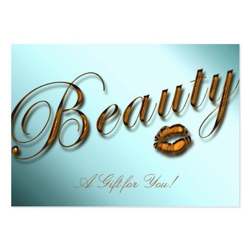 Beauty Gift Card Salon Lips Gold Teal Large Business Cards (Pack Of 100)
