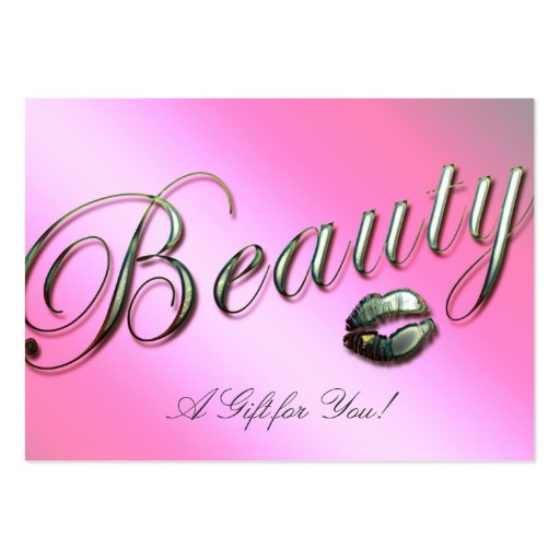 Beauty Gift Card Salon Lips Silver Pink Business Card Templates
