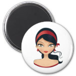 Beauty Girl 2 Inch Round Magnet
