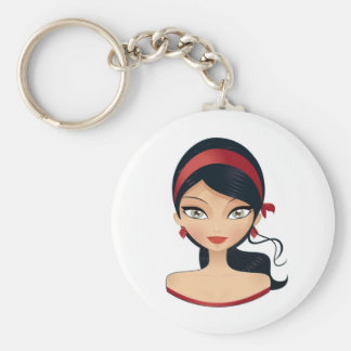 Beauty Girl Basic Round Button Keychain
