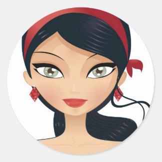 Beauty Girl Classic Round Sticker