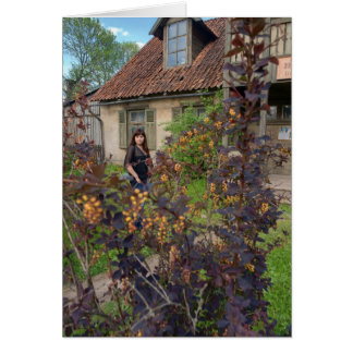 Beauty girl in garden greeting cards