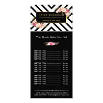 Beauty Hair Salon Gold Floral Stripes Price List Rack Card