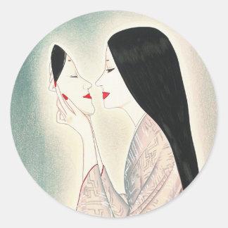 Beauty holding a Noh mask Takasawa Keiichi lady Classic Round Sticker