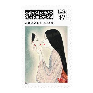 Beauty holding a Noh mask Takasawa Keiichi lady Postage