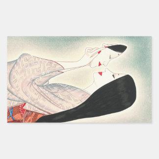 Beauty holding a Noh mask Takasawa Keiichi lady Rectangular Sticker