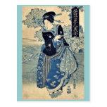 Beauty holding a pipe by Utagawa, Toyokuni,  Ukiy Postcards