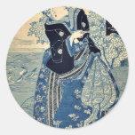 Beauty holding a pipe by Utagawa, Toyokuni,  Ukiy Round Sticker
