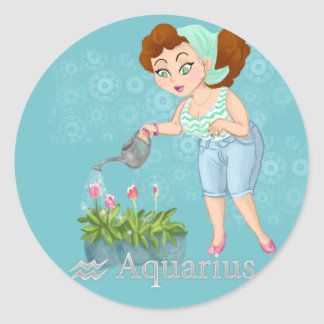 Beauty horoscope Aquarius Zodiac sign Classic Round Sticker