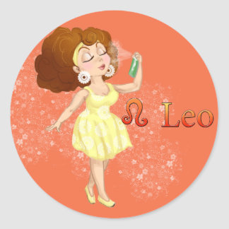 Beauty horoscope Leo Zodiac sign Classic Round Sticker