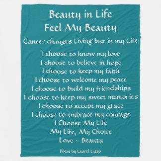 Beauty in Life Cancer Poem Fleece Chemo Blanket