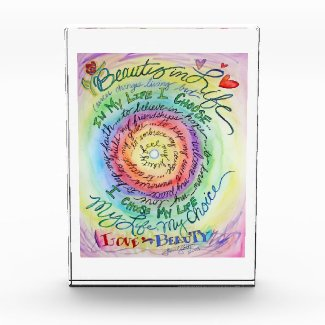 Beauty in Life Rainbow Cancer Poem Paperweight Art Acrylic Award