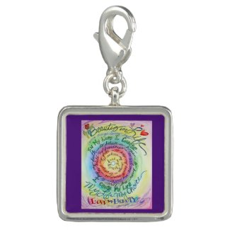Beauty in Life Rainbow Cancer Poem Pendant Charm