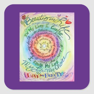 Beauty in Life Rainbow Cancer Poem Sticker Decals