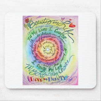 Beauty in Life Rounded Rainbow Mouse Pad