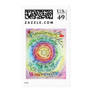 Beauty in Life Rounded Rainbow Postage Stamp