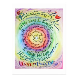 Beauty in Life Rounded Rainbow Postcard