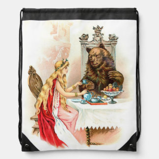 Beauty In Pink And The Beast Drawstring Backpack