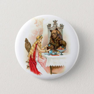 Beauty In Pink And The Beast Pinback Button