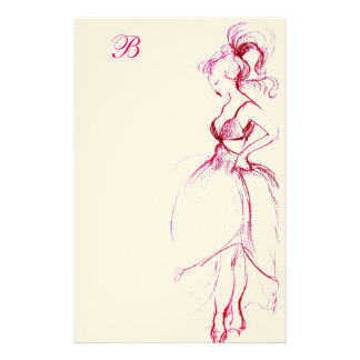 BEAUTY IN PINK DRESS MONOGRAM STATIONERY