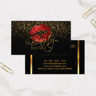 Beauty Injector with Gold Confetti & Red Lips Business Card
